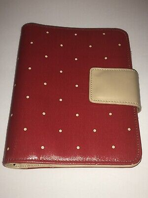 Franklin Covey Compact Planner 6 Ring Binder Red Beige Polka Dot Leather B1