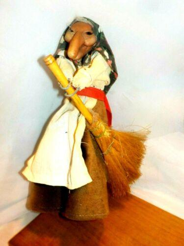 """10"""" Vintage Good Luck Kitchen Witch  Lucky Broom Norwegian Scandinavian Folk Art"""