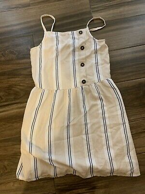 ABERCROMBIE KIDS BEIGE & BLUE STRIPED LINED ROMPER DRESS GIRLS SIZE 13/14 Great