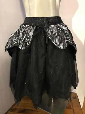 Adult Black & Sliver Shimmering Fairy TuTu Layered Skirt One Size Fits Most New