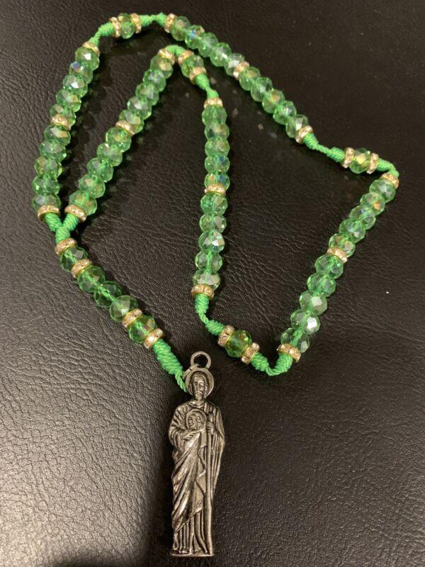 Saint Jude Rosario -San Judas Tadeo Rosary -New- Nylon -GrEen Acrylic stones