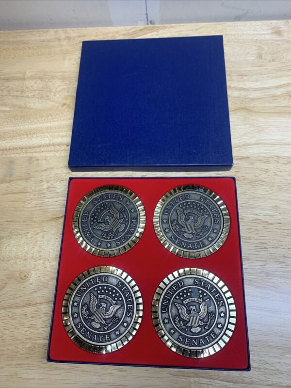 LOT OF 4 VINTAGE United States Senate Coasters Brass Coin USA