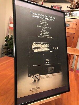 "BIG 11X17 FRAMED BEE GEES ""MR. NATURAL"" LP ALBUM CD 45 SINGLE PROMO AD + bonus!"