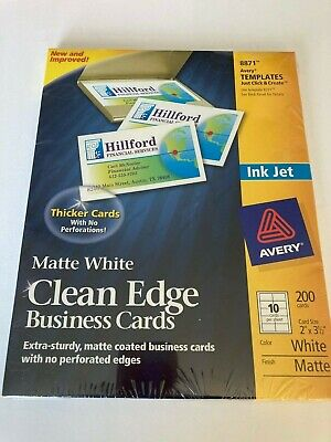 Avery A Very Clean Edge Business Cards Matte White Ink Jet 8871 Nwt
