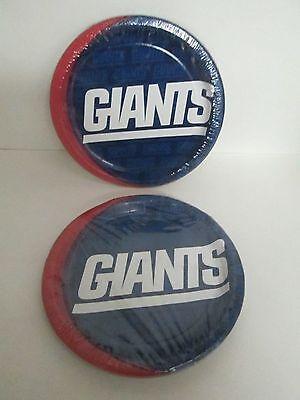 NFL NEW YORK GIANTS PARTY DINNER PLATES 8 pk - LOT OF 2 PACKAGES -PARTY SUPPLIES (Nfl Party Supplies)