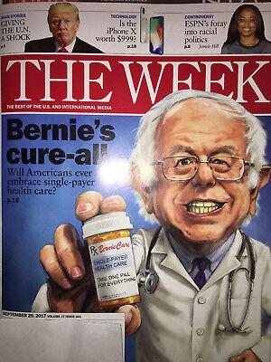 THE WEEK MAGAZINE Sept 2017 DONALD TRUMP U.N. SHOCK Bernie Health Care iPhone X