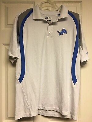 Detroit Lions Football Polo Shirt NFL Team Apparel Mens Used Size L White Poly Football Nfl Apparel