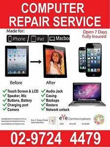 Laptop, iPhone/iPad broken screen/accessories repair from $49* Cabramatta Fairfield Area Preview