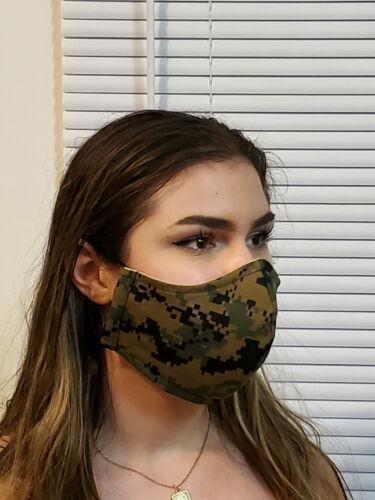 Face Mask USMC Woodland Camo Double Layer reusable washable Unisex US made