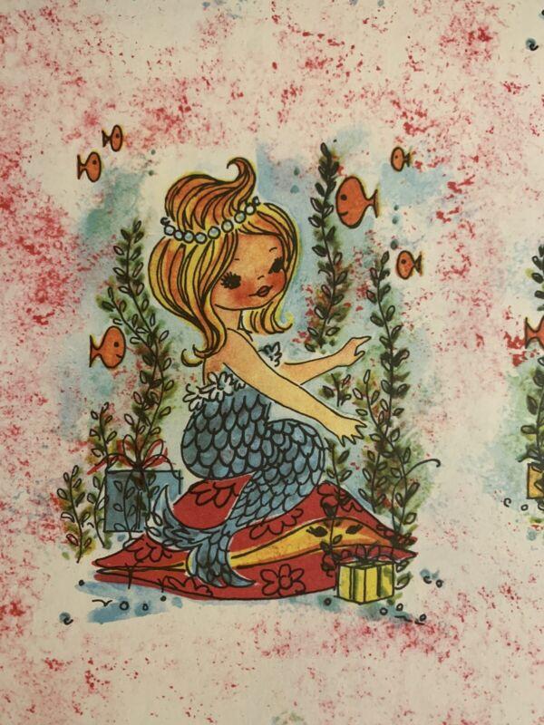 "Vintage MCM 1950's Mermaid Gift Wrap Paper Collage Decoupage Art, 25 1/2"" x 19"""