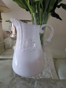 French Provincial Country Shabby Vintage White Ceramic Jug Water Pitcher Vase