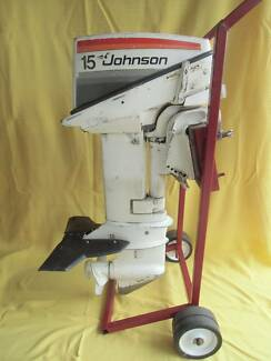 15 hp JOHNSON OUTBOARD WITH STINGRAY, FUEL TANK, TROLLEY & MANUAL