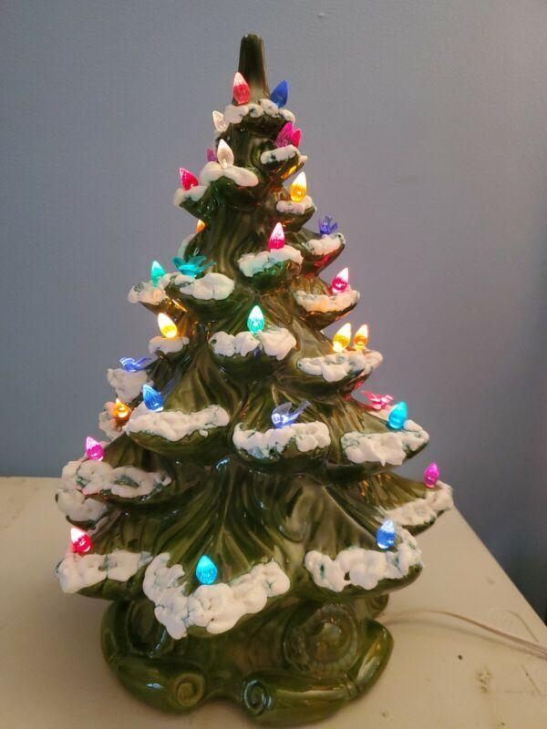 "Vintage Ceramic Light-up Christmas Tree 17""  Tabletop Holiday Home Decor"