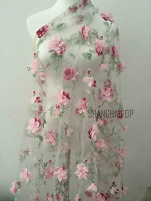 Lace Fabric Organza 3D Pink Chiffon Rose Floral Embroidery 55