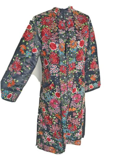 Vintage Chinese Black Silk Embroidery Floral Tunic Dress Great New Condition M L
