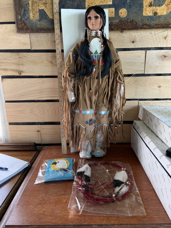 """Duck House Princess Eagle 30"""" Tall Native American Maiden New Old Stock Doll"""