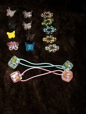 LOT of girls Hair Accessories butterflies Clips Elastic & MORE!, used for sale  Shipping to India