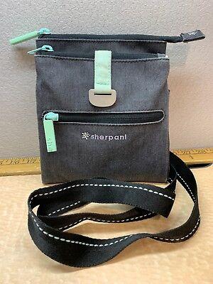 SHERPANI Lima CROSSBODY Small Purse CHARCOAL Grey Gray w/ Aqua Mint BAG