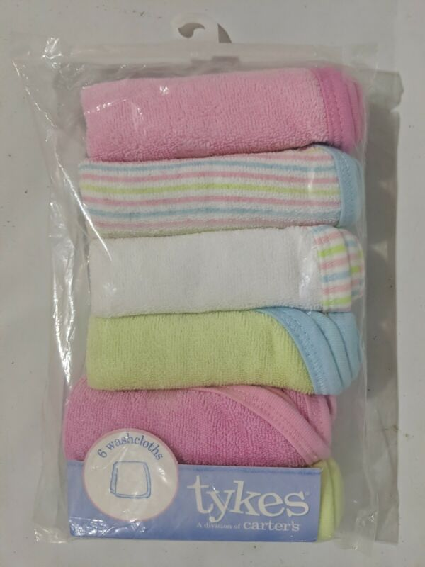 "Sealed - Carter's Baby Washcloths, 9""x9"" Multicolor 6 Pack"