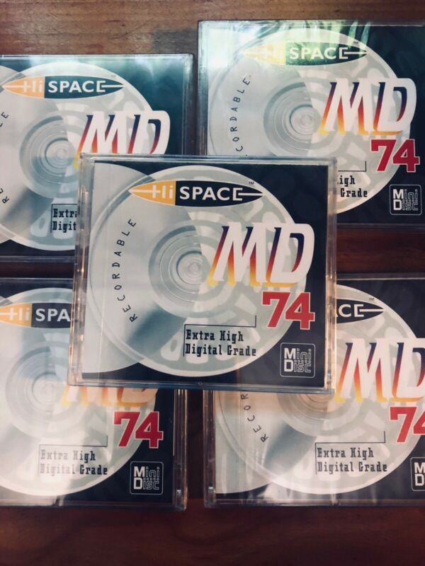 5- New HiSpace  Clear/Chrome 74 Minute Minidisc with Gem boxes and labels