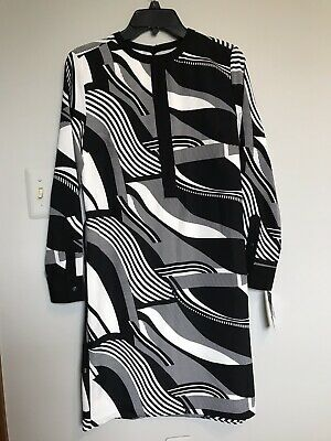 Ralph Lauren Women's Petite Size 8P Dress Black & White  Self Belt  $159 NWT