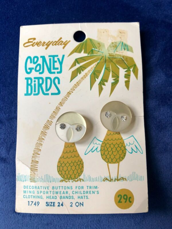 "Lucite ""Gooney Birds"" buttons. Two buttons on original card. Pretty."