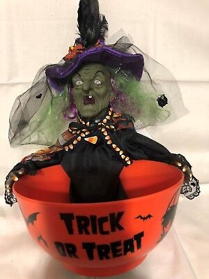 Halloween Animated Witch Candy Bowl Remade w/ Alexander Henry Fabric Purple Hat - Alexander Henry Halloween Fabric