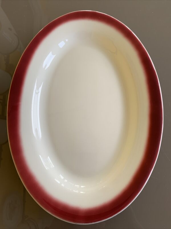 "Vintage Buffalo China Restaurant Platter  12"" White w Maroon Edge"