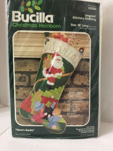 Bucilla Christmas Stocking Kit Heirloom Here's Santa Jewel