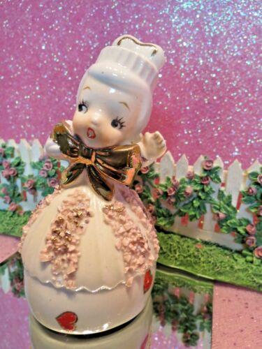 Vtg Valentine Angelic Girl CUPCAKE DRESS W HEARTS BELL BIG GOLD BOW PINK TRIM