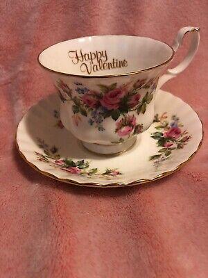 ROYAL ALBERT BONE CHINA MOSS ROSE TEA CUP & SAUCER HAPPY VALENTINE ENGLAND