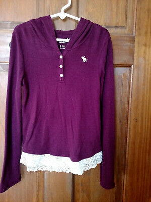 ABERCROMBIE KIDS Girl's Burgundy Long Sleeve Hooded Henley with Lace Hem - 5/6