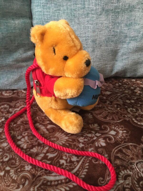 "Disney Winnie The Pooh Plush Zippered Coin Purse / Shoulder Bag 7"" Vintage"