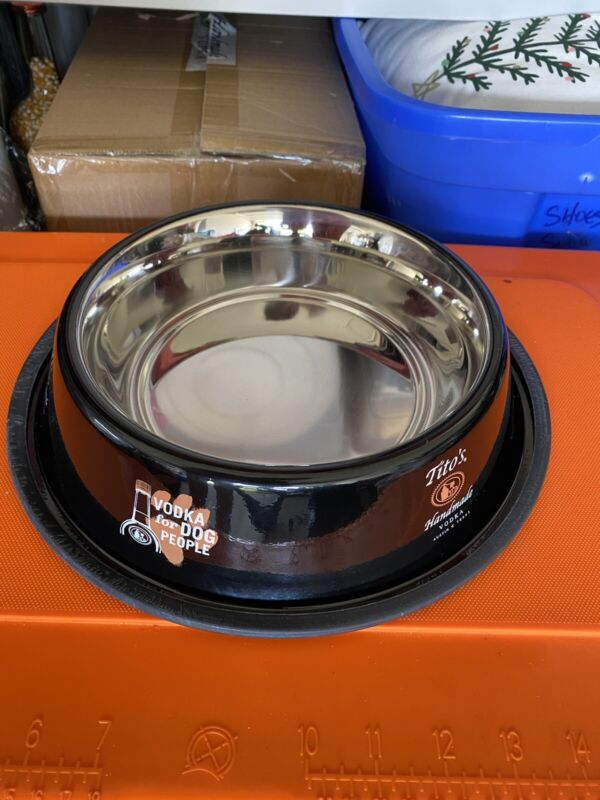 Tito's Vodka Large Stainless Steel Dog Bowl Vodka For Dog People New