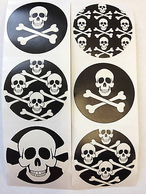 25 Pirate Skull Crossbones Stickers Party Favor Teacher Supply Halloween 3](Halloween Favor)