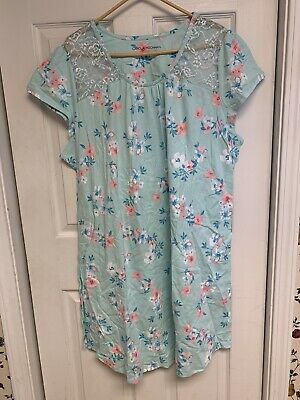 Carole Hochman Dream Floral Cotton Jersey Sleepshirt-Mint-2X-NEW-A302167