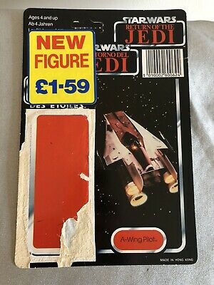 Vintage Star Wars Tri Logo A-Wing Pilot Figures Backing Card - 100% Original