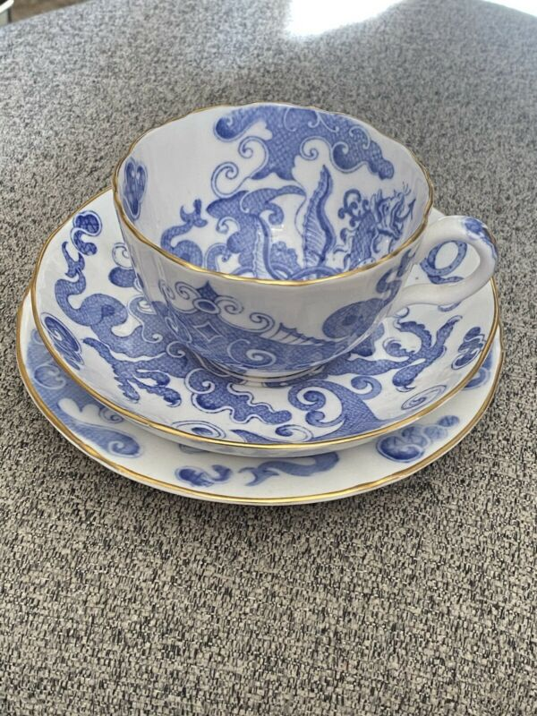 Royal Worcester Blue Dragon Breakfast Cup Saucer Plate Trio Set