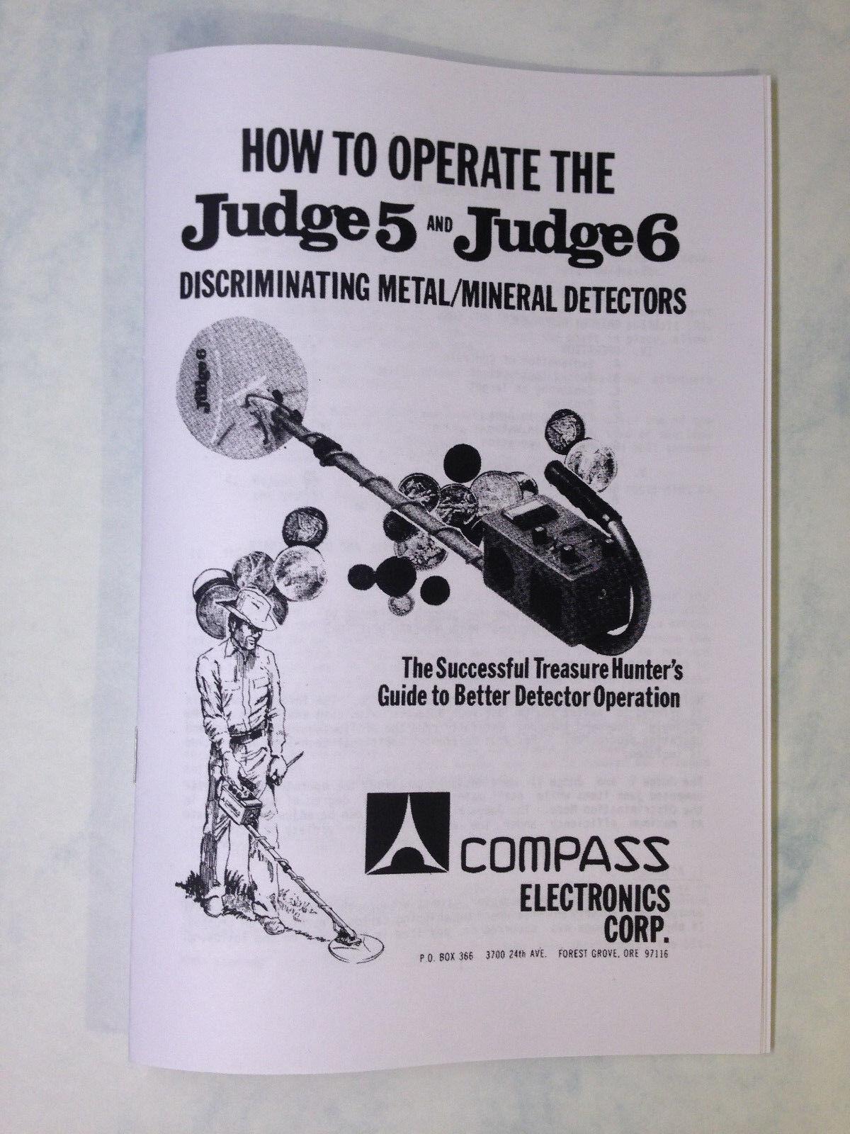 Compass Metal Detector Operation Manual Judge 5 and Judge 6 Find Coins Treasure
