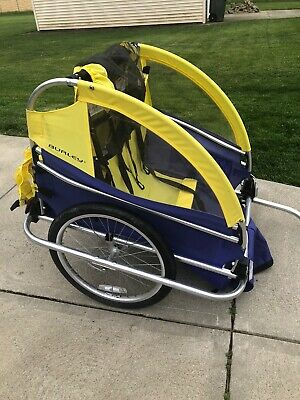 Burley Yellow Two Child Trailer-Bicycle Child Wagon w/Extra Wheel. Hardly Used.