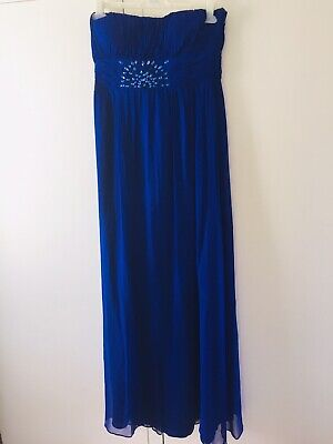 JS Boutique Purple Silk Maxi Dress Gown With Eye Catching Beading. Size 10.