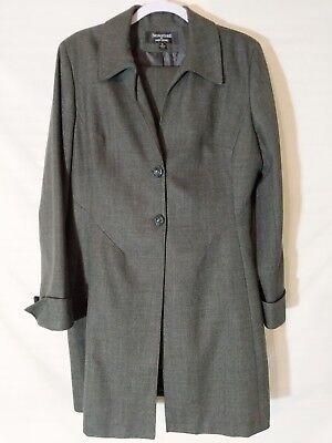 Signature By Larry Levine Grey 2 Pc Suit Blazer Pants Womens Size 12 Polyester