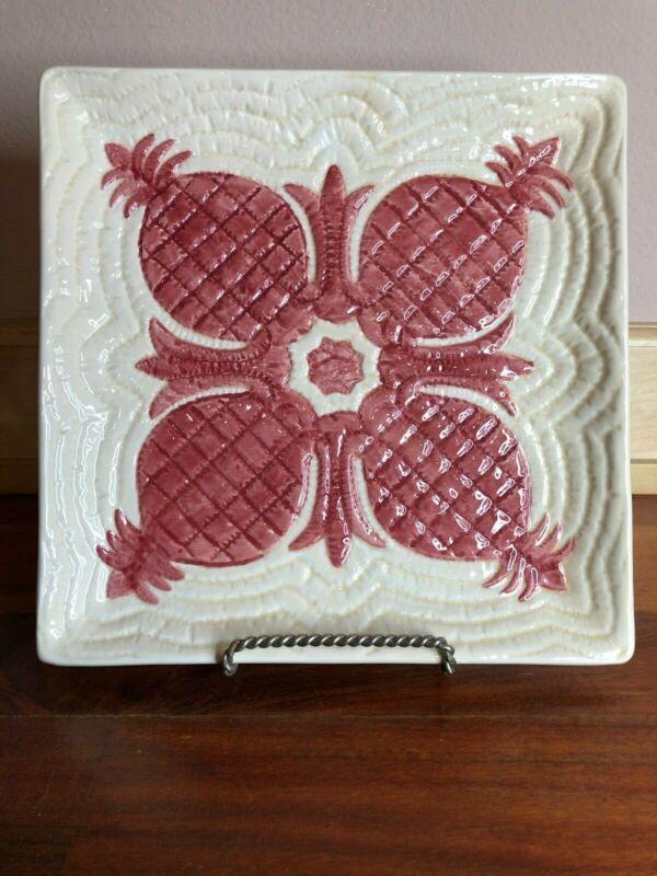 Hawaiian Quilt Clay Michael Gillan Pottery Pineapple Plate 1999 Vintage
