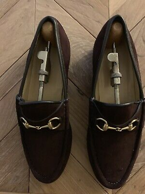 GUCCI Ladies Brown Suede Loafers