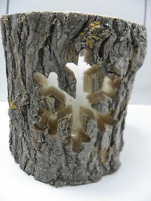 Holzlaterne Windlicht mit Glaseinsatz Baumstamm m Ornamenten Schneeflocke 37044  ()