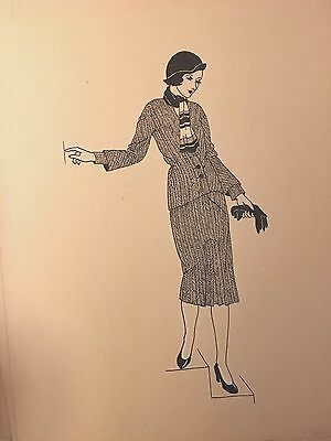 Pen & Ink Study 1920's Fashion Woman Modeling herringbone dress Art Deco signed