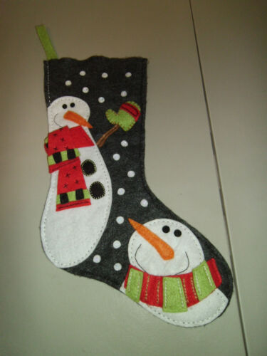 "1-Cute Snowmen Christmas Felt Applique Finished Stocking 19"" Long New & Handmade"
