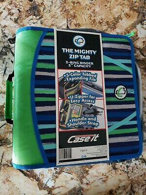 Case It The Mighty Zip Tab 3 Ring D Ring Binder New Blue Multi Color New