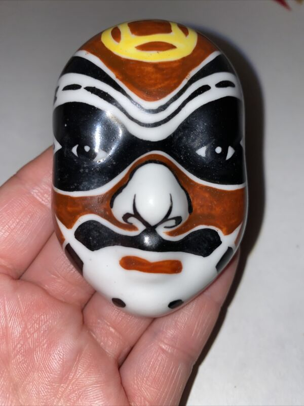 """Vintage Miniature Chinese Theater Mask - Brown, Black, Yellow, & White 3"""""""