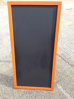 Sidewalk Announcement Black Chalkboard Easel Orange Hardwood Frame 24 X 48